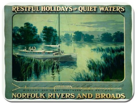 Norfolk Broads Vintage Railway Poster Mouse Mat Midland Northern Train Mouse pad